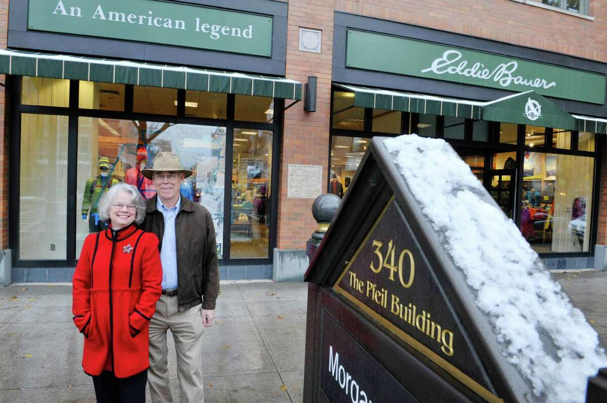 Deane Pfeil and her husband Jeff Pfeil pose outside the Pfeil building located at 340 Broadway on Monday, Nov. 17, 2014, in Saratoga Springs, N.Y. (Paul Buckowski / Times Union)