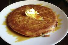 Barbaro offers a pancake with bacon goat cheese and molasses during brunch.