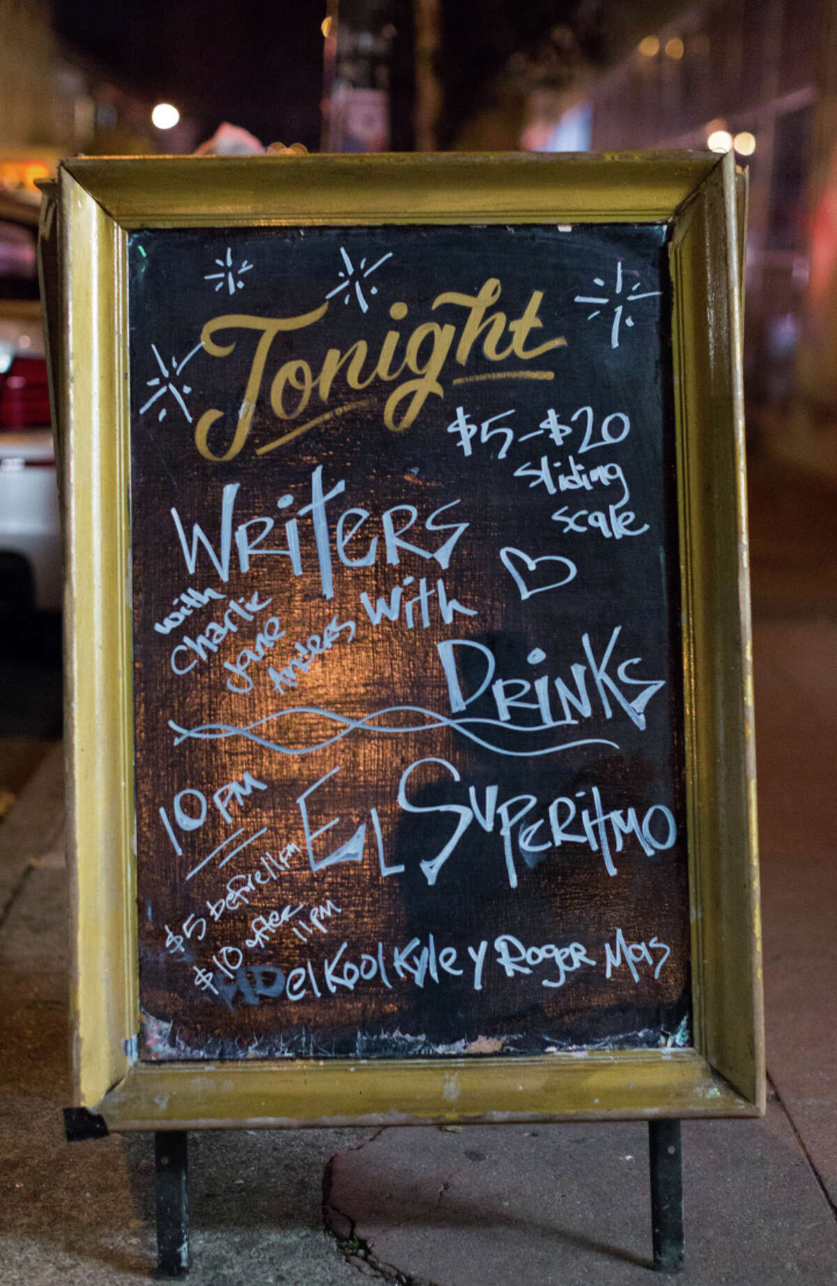 Guests pay to enter the monthly Writers With Drinks event based on a sliding scale.