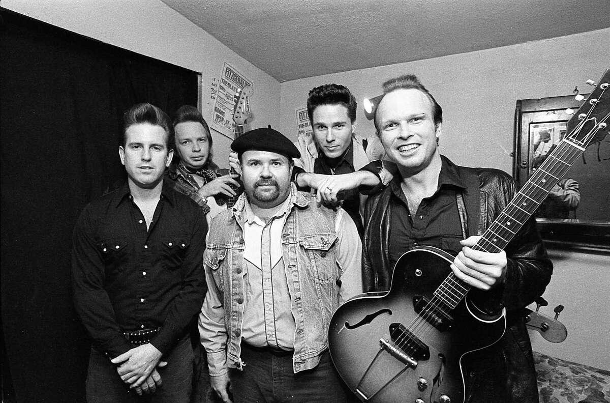 The Blasters: Bill Bateman, left, Dave Alvin, Gene Taylor, John Bazz and Phil Alvin at Fitzgerald's, Nov. 30, 1984.