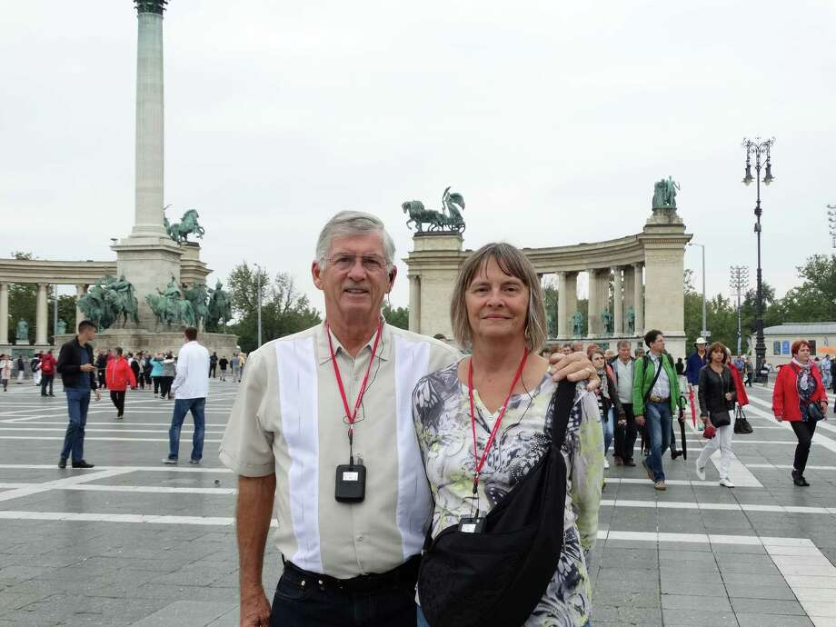 Bob and Eydie Larson of Pleasant Hill at Heroes Square in Budapest, Hungary. / ONLINE_YES