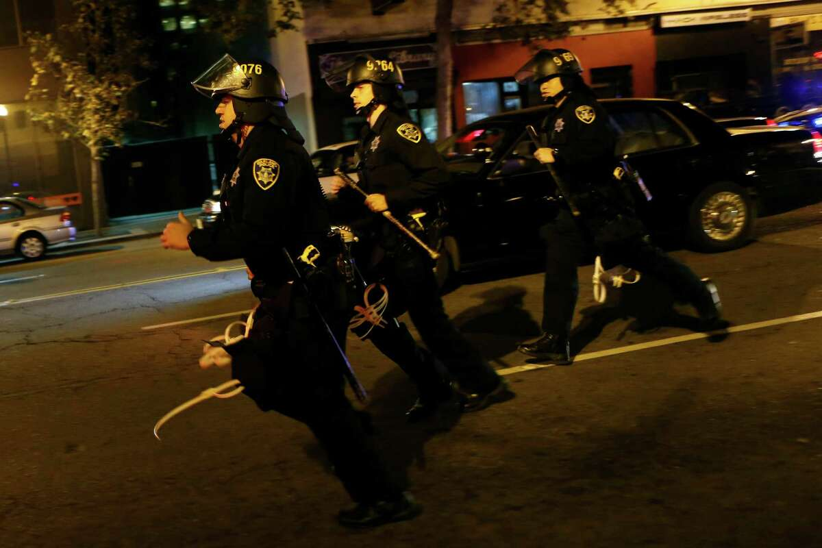 during Ferguson related protests in Oakland, Calif., on Wednesday, November 26, 2014.