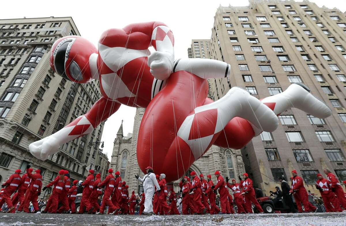 A Power Ranger balloon cruises along Central Park West during the Macy's Thanksgiving Day Parade, Thursday, Nov. 27, 2014, in New York.