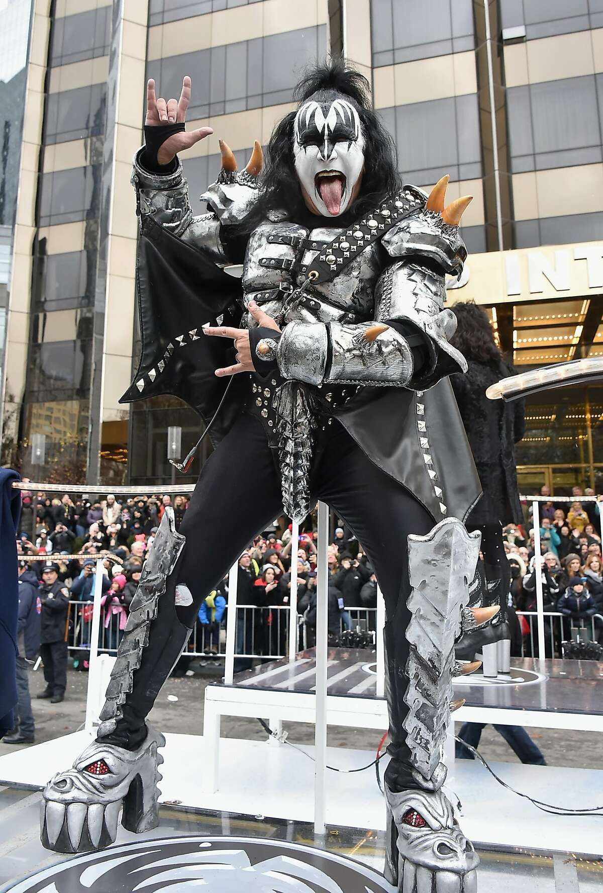 Gene Simmons of KISS during the 88th Annual Macy's Thanksgiving Day Parade on November 27, 2014 in New York City.