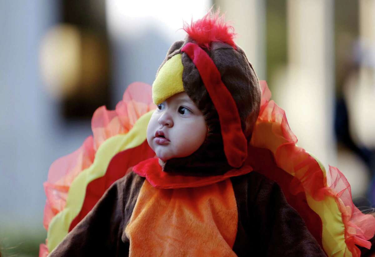 Carmelo Suarez, 11-months, at his first 65th Annual H-E-B Thanksgiving Day Parade Thursday, Nov. 27, 2014, in Houston, Texas.