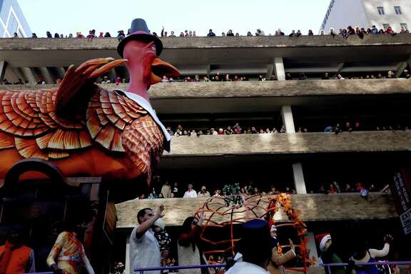 The Turkey float in the 65th Annual H-E-B Thanksgiving Day Parade Thursday, Nov. 27, 2014, in Houston, Texas.