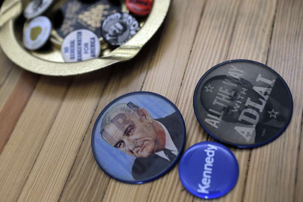 Political buttons kept as souvenirs in the offices at SCN Strategies in San Francisco, Calif., on Sunday, November 23, 2014. The 2014 elections marked a dismal result for democrats across the nation, but local political strategists Ace Smith, Dan Newman, and Sean Clegg, notched a perfect 10 for 10 with wins in big races for clients like Jerry Brown, Kamala Harris, Libby Schaff, and Gavin Newsom.