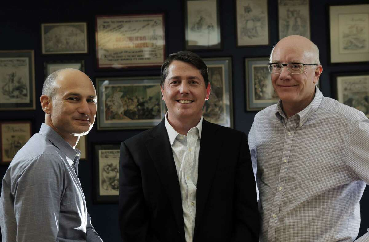 L-R, Dan Newman, Sean Clegg, and Ace Smith in their offices at SCN Strategies in San Francisco, Calif., on Sunday, November 23, 2014. The 2014 elections marked a dismal result for democrats across the nation, but local political strategists Ace Smith, Dan Newman, and Sean Clegg, notched a perfect 10 for 10 with wins in big races for clients like Jerry Brown, Kamala Harris, Libby Schaff, and Gavin Newsom.