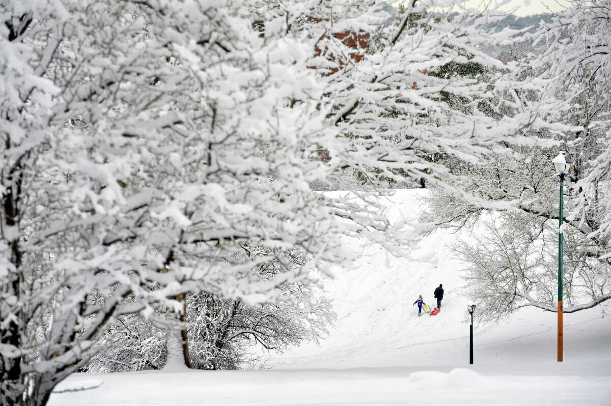 Grace Neville, left, 7, and her dad, Bill Neville from Albany, make their way back up the hill for another slide down at Lincoln Park on Thursday, Nov. 27, 2014, in Albany, N.Y. (Paul Buckowski / Times Union)