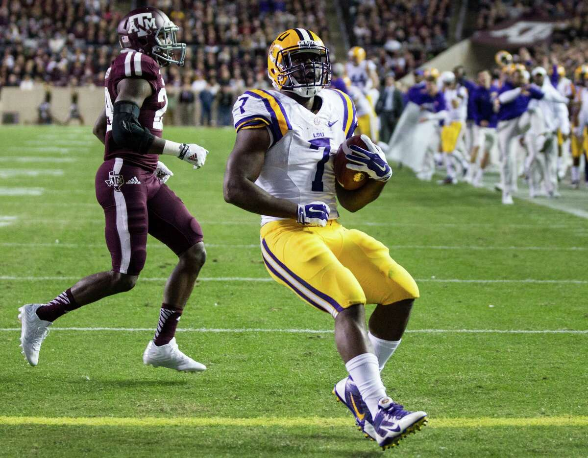 Freshman LSU running back Leonard Fournette was a problem for the Aggies all game long Thursday.