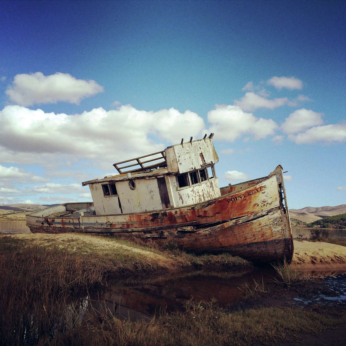 An abandoned boat in the Marin County, California town of Inverness in 2014.