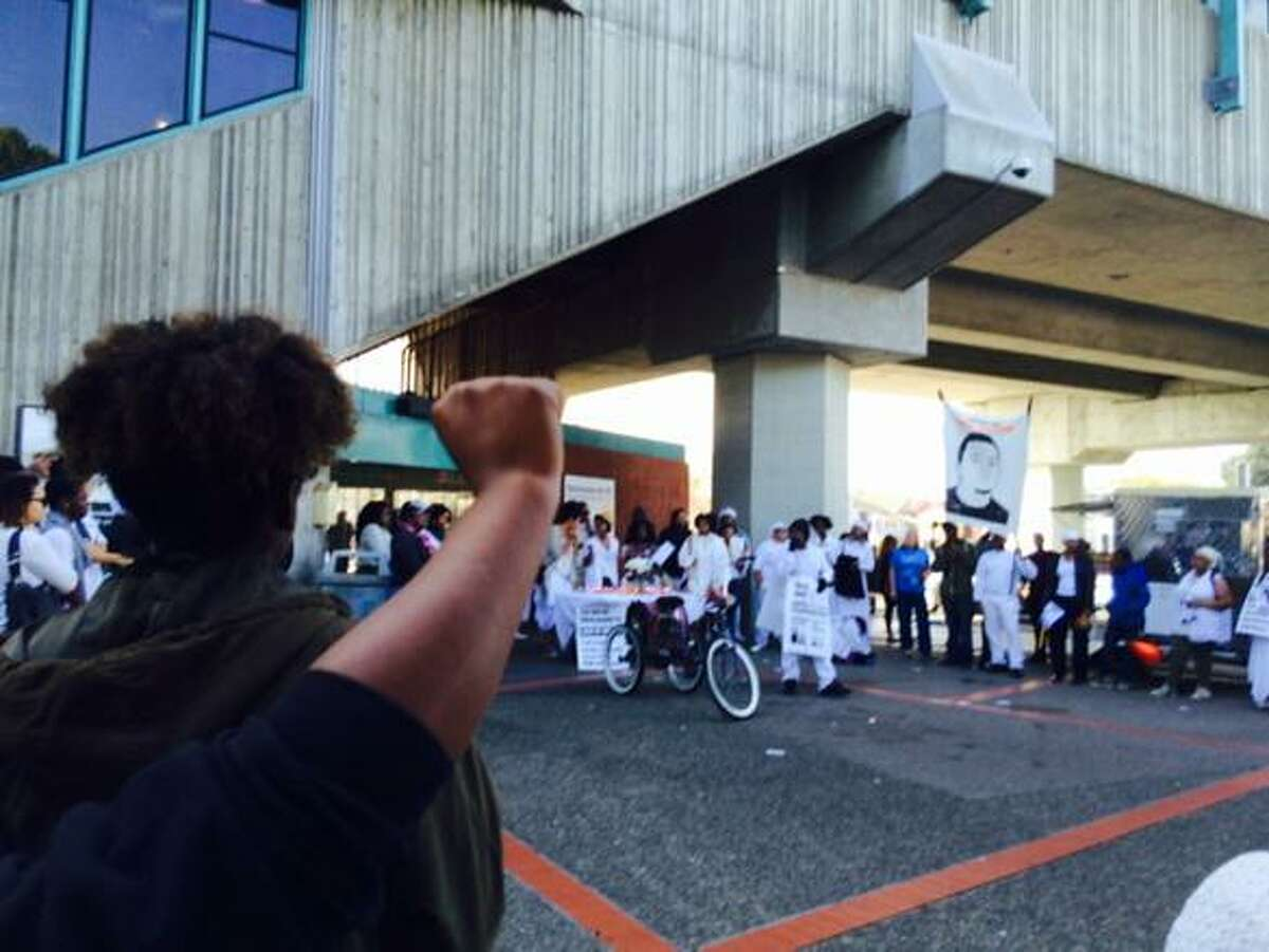 A protest at West Oakland Bart has shut the station.