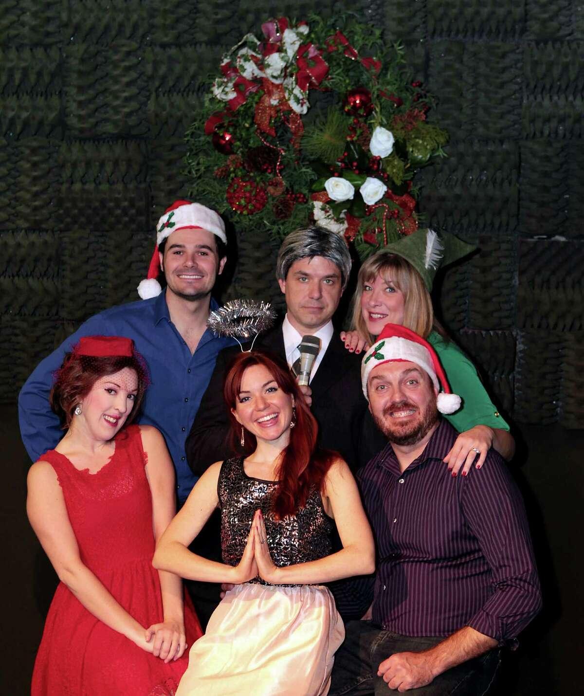 "Kristina Sullivan, from left, Brad Scarborough, Cay Taylor, John Gremillion as Tom Brokaw, Rebekah Dahl and Luke Wrobel during a rehearsal of ""The White Christmas Album."""