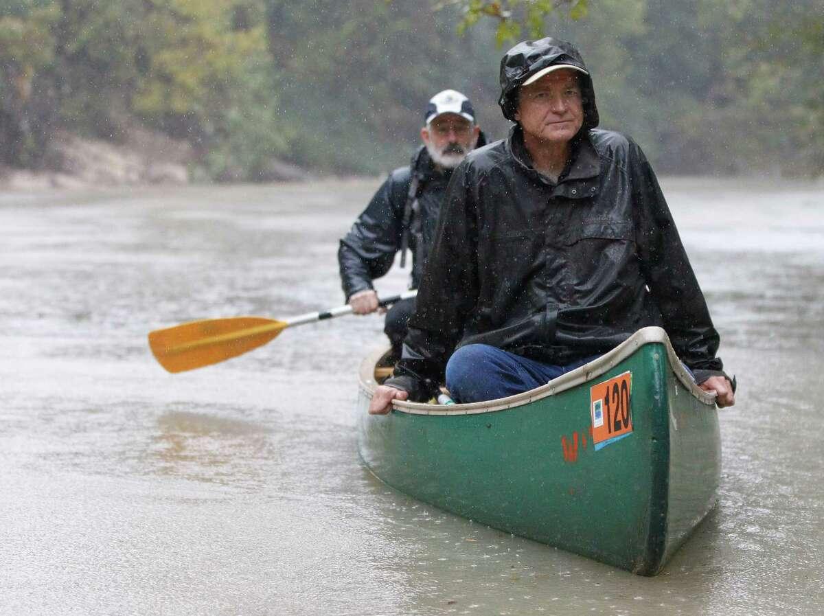 Berkeley professor Mathias Kondolf rides down Buffalo Bayou between Memorial Park and River Oaks Golf Course, Friday, Nov. 21.