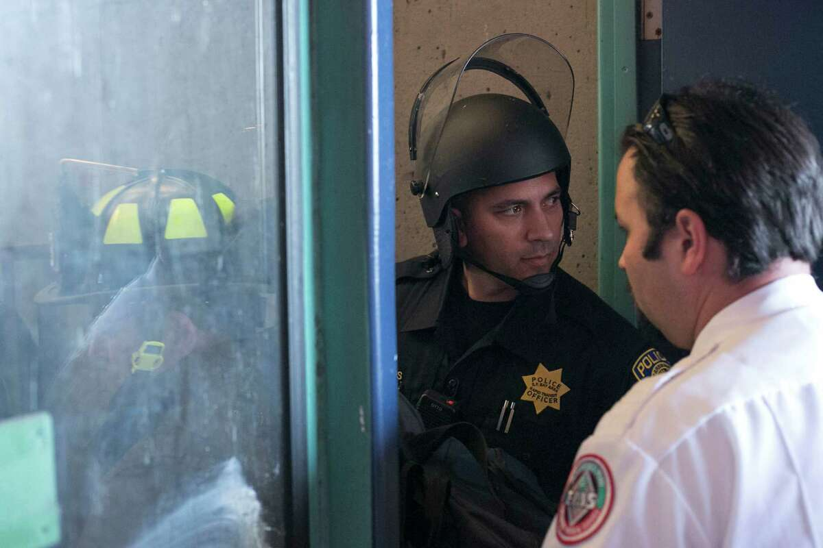 Bart Police officers at West Oakland Station, where protesters shut down the Bart system on Friday.