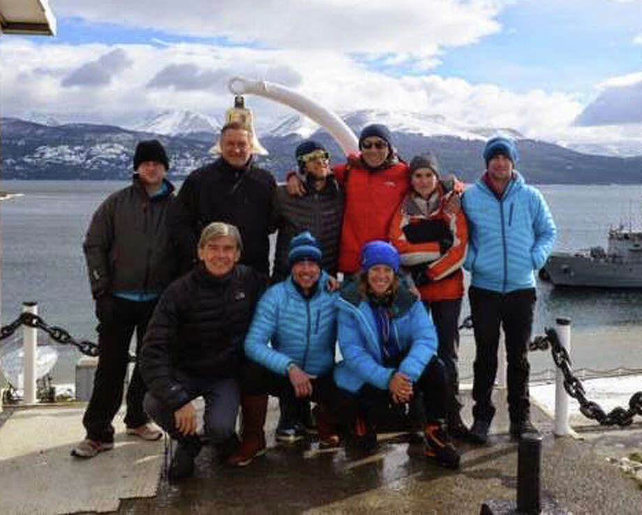 Greenwich explorer Luc Hardy, front row, far left, poses with his crew before they set sail from Chile for Antarcticaís Elephant Island on their sailing ship, the Australis. Photo: Contributed Photo / Greenwich Time Contributed
