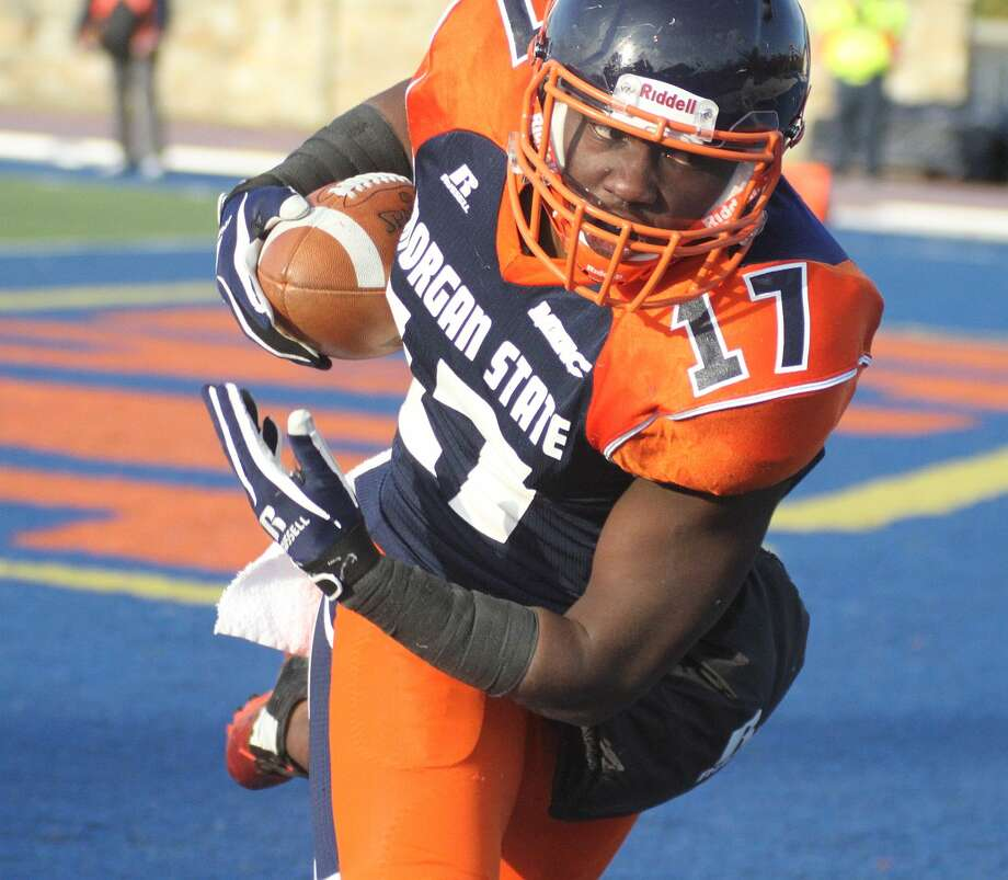 Morgan State's Ladarious Spearman (17) has recorded 19 receptions, 244 yards and one touchdown this season. The former West Brook star and the rest of the Bears take on Richmond in the opening round of the FCS playoffs Saturday. - Photo provided by Morgan State Athletics