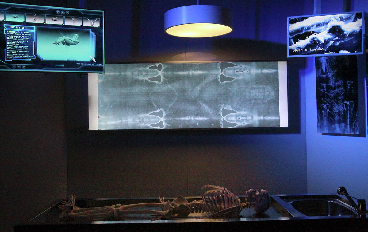 This is one of the displays at the Shroud of Turin Expo. The exhibit offers historic and forensic perspectives to visitors regarding a linen cloth that appears to bear the image of a person that may have suffered physical trauma consistent with crucifixion. The exhibit is located at 416 Dolorosa and will be in San Antonio until January 25, 2015.
