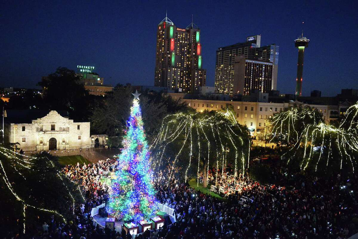 The H-E-B tree lighting ceremony takes place in Alamo Plaza.