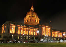 City Hall, lit up in orange for the Giants.
