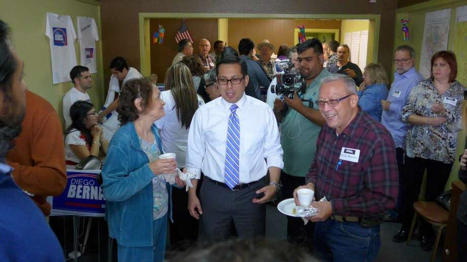 Former Councilman Diego Bernal greets supporters  at his North Side campaign office on Saturday as he begins his race for Texas House District 123. Photo: By John W. Gonzalez, San Antonio Express-News