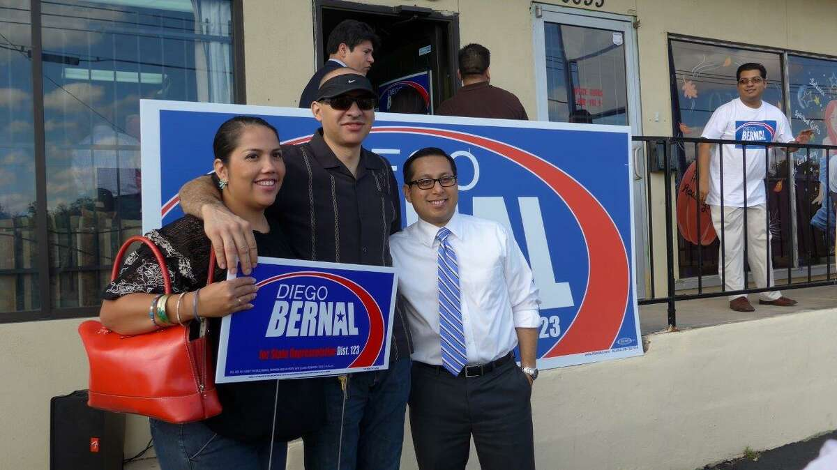 Former Councilman Diego Bernal greets supporters at his North Side campaign office on Saturday as he begins his race for Texas House District 123.