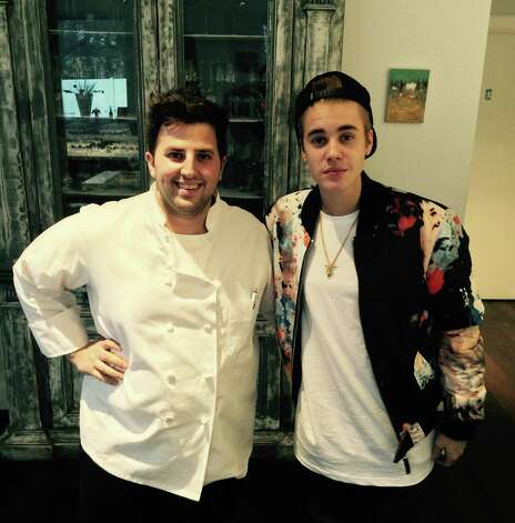 Chef Anthony John Rinaldi welcomed singer Justin Bieber to the Golden View Firenze restaurant in Greenwich last week. The pop superstar stopped in at the Railroad Avenue spot for a snack. Photo: Contributed Photo / Greenwich Time Contributed