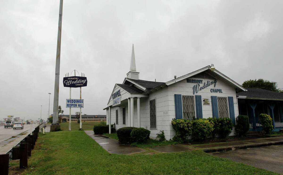 The ceremony took place at the Harmony Wedding Chapel, a small chapel off Gulf Freeway about 15 minutes from downtown Houston.