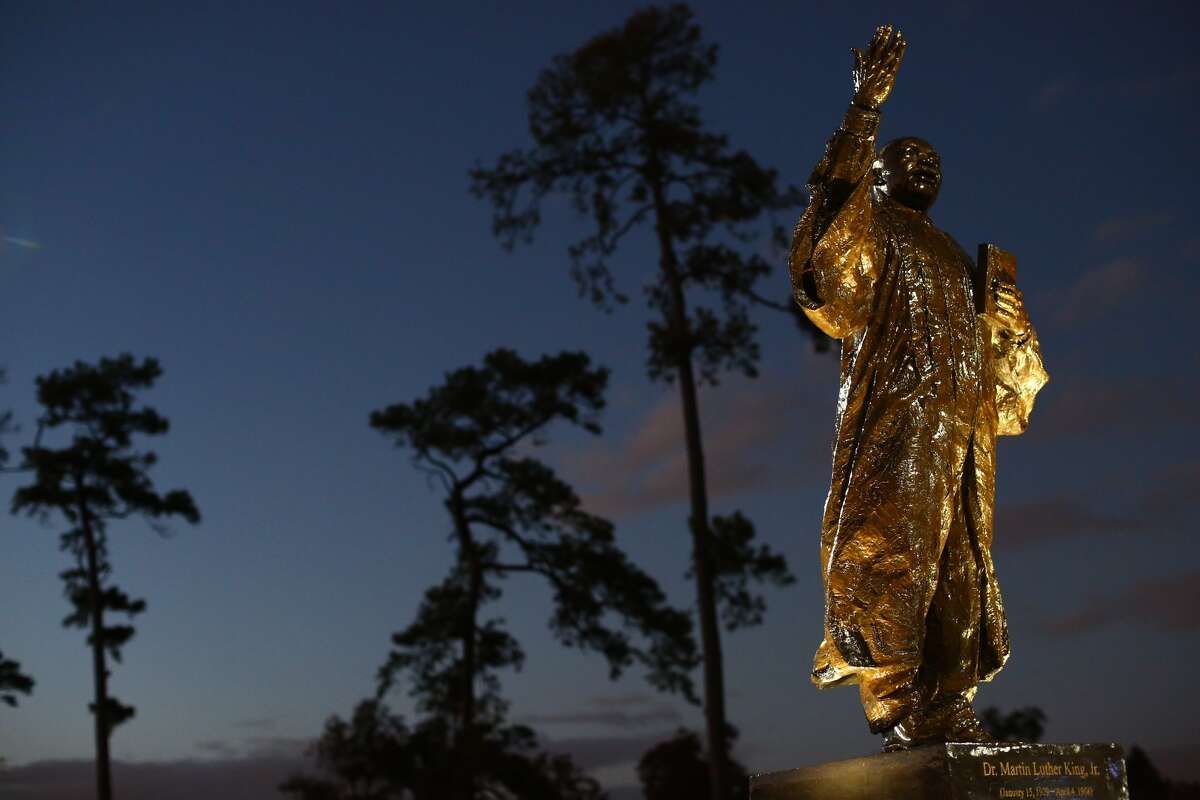 The Martin Luther King Jr. statue in MacGregor Park, photographed Saturday evening. Houston police were called to the scene Friday night after the statue was damaged during what appeared to be an act of vandalism. A city park ranger doing routine checks around 11 p.m. noticed two men striking the $120,000 bronze statue with a metal object, according to city report. When the ranger approached the alleged vandals, they fled the scene. The report only describes the suspects as