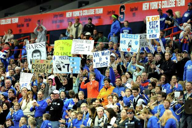 Hoosick Falls' fans cheer for a first half touchdown during their Class C state football final against Chenango Forks on Saturday Nov. 29, 2014, at the Carrier Dome in Syracuse, N.Y. (Cindy Schultz / Times Union) Photo: Cindy Schultz / 00029661A