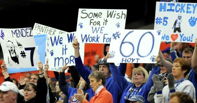 Hoosick Falls' fans show support for their team during their Class C state football final against Chenango Forks on Saturday Nov. 29, 2014, at the Carrier Dome in Syracuse, N.Y. (Cindy Schultz / Times Union) Photo: Cindy Schultz / 00029661A