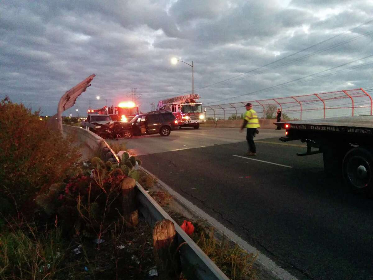 Fire fighters had to extricate a man pinned inside a truck following accident Saturday evening on the Northeast Side.