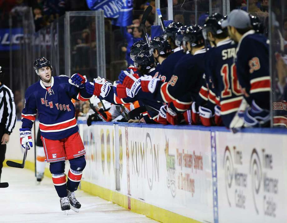 NEW YORK, NY - NOVEMBER 29:  Derick Brassard #16 of the New York Rangers celebrates his goal against Ray Emery #29 of the Philadelphia Flyers during their game at Madison Square Garden on November 29, 2014 in New York City.  (Photo by Al Bello/Getty Images) ORG XMIT: 507047999 Photo: Al Bello / 2014 Getty Images