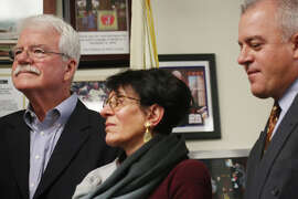 After more than 40 years of service, U.S. Rep. George Miller (left), with his wife Cynthia and son George IV, said at a news conference in Richmond in January that he would retire and would will not run for office again.