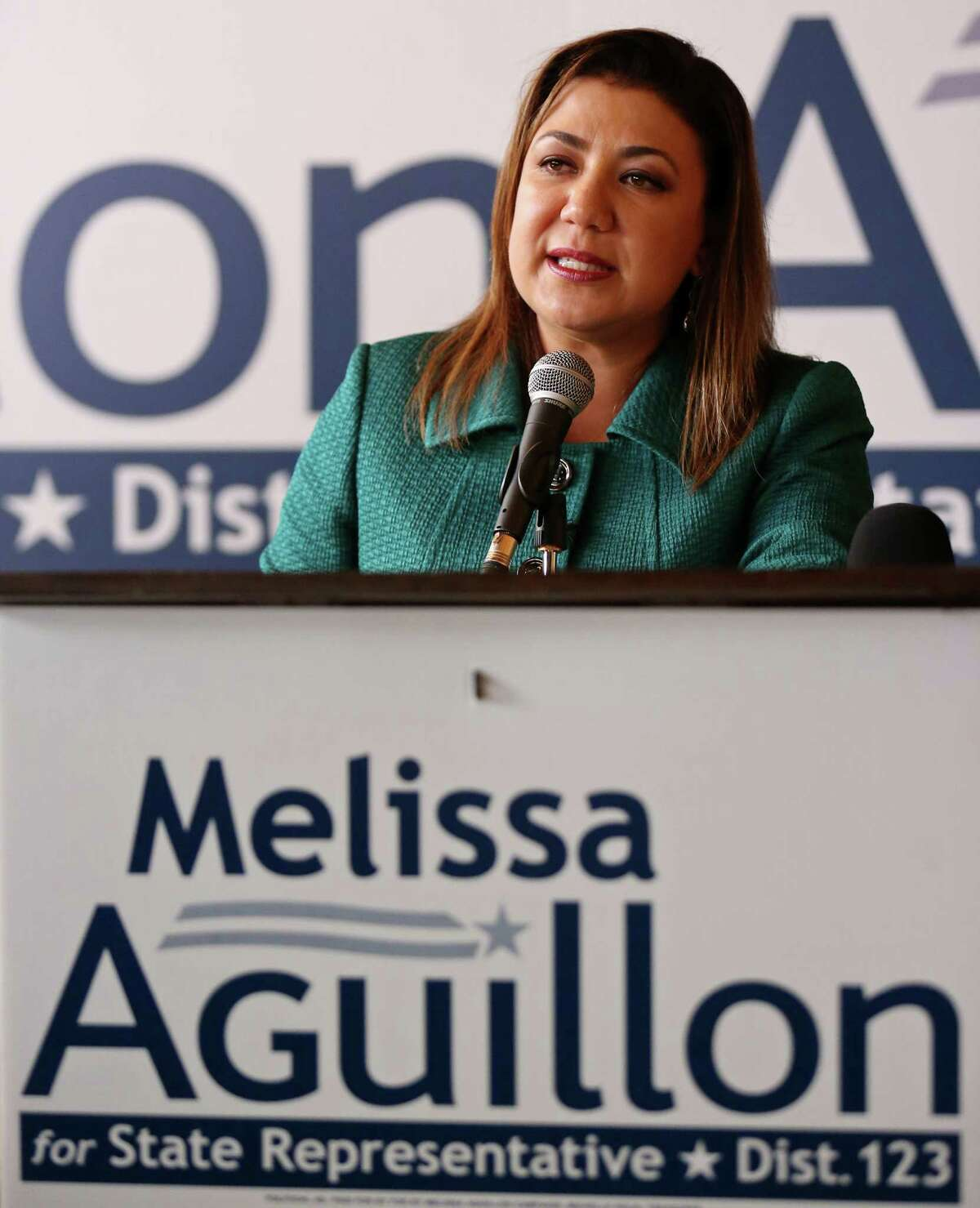 Melissa Aguillon, President and CEO of Aguillon & Associates LLC, announces her candidacy for State Representatavie, District 123, Sunday Nov. 30, 2014 at Augie's Alamo City BBQ Steakhouse.