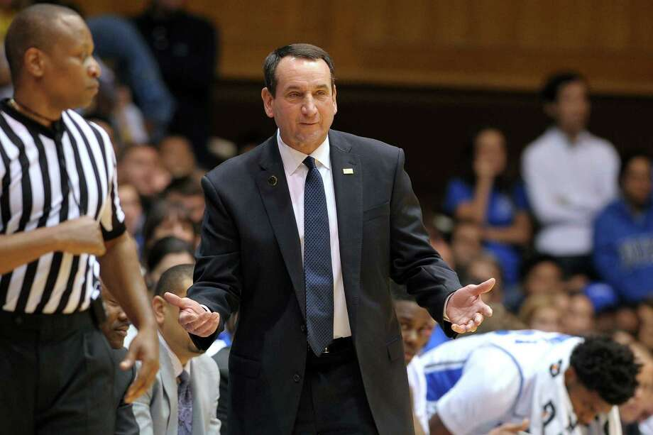 DURHAM, NC - NOVEMBER 30:  Head coach Mike Krzyzewski of the Duke Blue Devils gestures during a game against the Army Black Knights at Cameron Indoor Stadium on November 30, 2014 in Durham, North Carolina. (Photo by Lance King/Getty Images) ORG XMIT: 519880497 Photo: Lance King / 2014 Getty Images