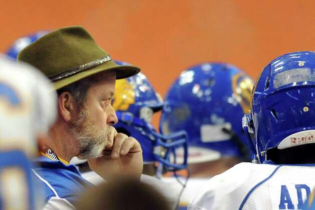 Queensbury's John Irion, left, concentrates on his team's Class A state football final against Indian River on Sunday Nov. 30, 2014, at the Carrier Dome in Syracuse, N.Y. (Cindy Schultz / Times Union) Photo: Cindy Schultz / 00029663A