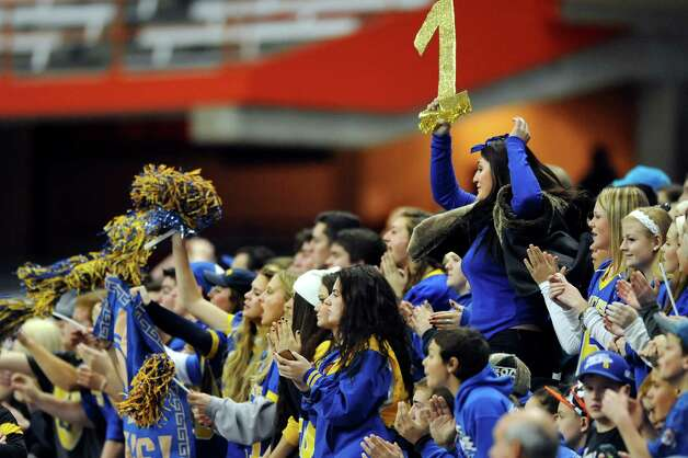 Queensbury fans cheer for their team during the Class A state football final against Indian River on Sunday Nov. 30, 2014, at the Carrier Dome in Syracuse, N.Y. (Cindy Schultz / Times Union) Photo: Cindy Schultz / 00029663A