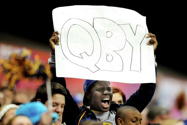A Queensbury fan shows support for his team during the Class A state football final against Indian River on Sunday Nov. 30, 2014, at the Carrier Dome in Syracuse, N.Y. (Cindy Schultz / Times Union) Photo: Cindy Schultz / 00029663A
