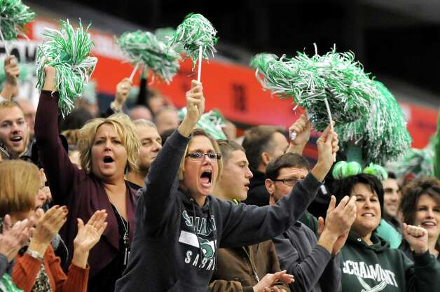 Schalmont fans cheer for their team during the Class B state football final against Maine-Endwell on Sunday Nov. 30, 2014, at the Carrier Dome in Syracuse, N.Y. (Cindy Schultz / Times Union) Photo: Cindy Schultz / 00029662A