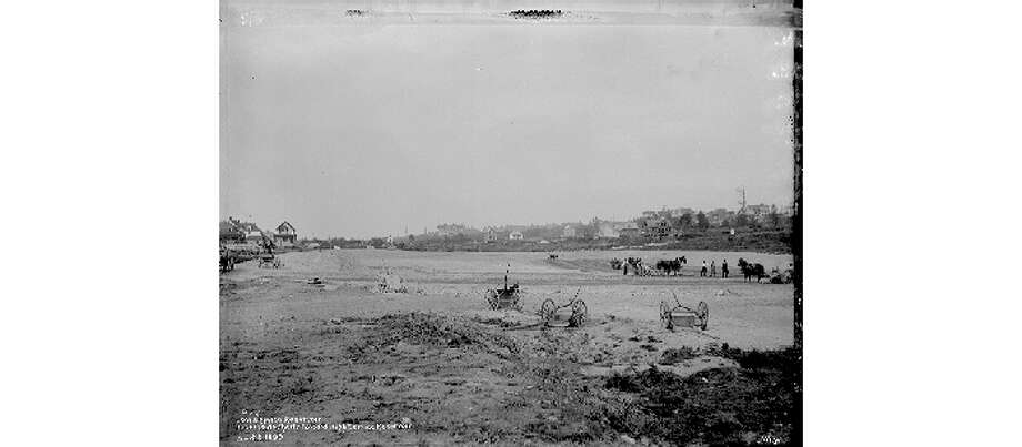 Lincoln Park Reservoir under construction, pictured on Sept. 8, 1899. Photo: City Of Seattle Municipal Archives