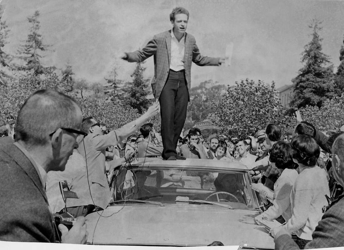 UC philosophy student Mario Savio became the leader of the Free Speech Movement after exhorting protesters from atop a car in 1964.