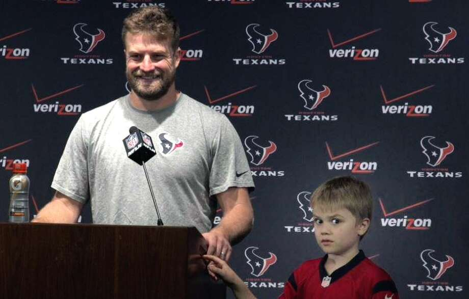 """I am going to put you on the spot here, buddy,"" Texans QB Ryan Fitzpatrick said to his son Brady. Photo: Houston Texans Video"