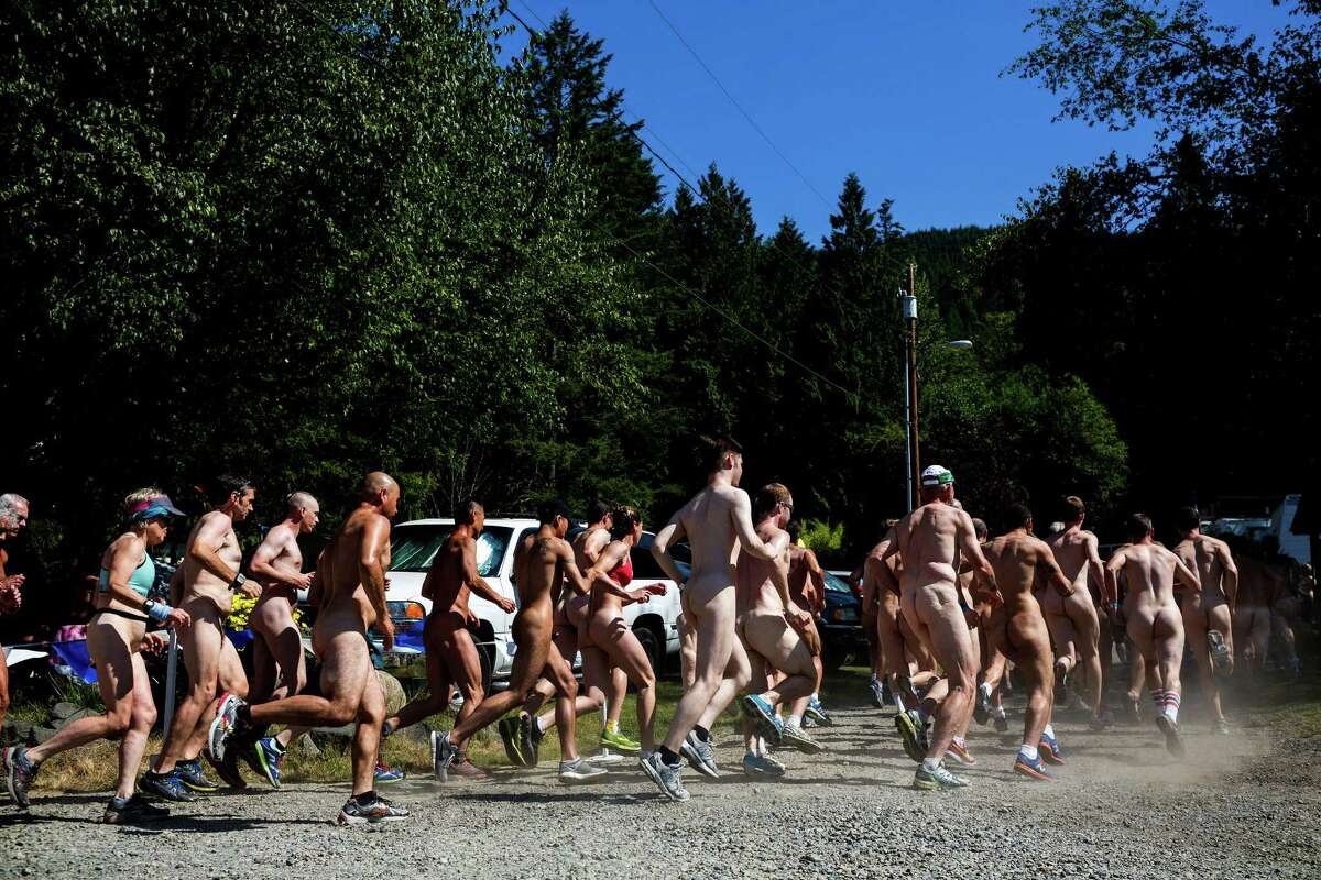 Nudist parks are not just for relaxation. Dozens of active participants stripped down to skivvies and beyond to compete against one another for Fraternity Snoqualmie's annual 5-kilometer Bare Buns Fun Run Sunday, July 13, 2014, in Issaquah. The BBFR is one of many open-to-the-public events that Fraternity Snoqualmie, also often referred to as FS, hosts in the summer months. It is often a