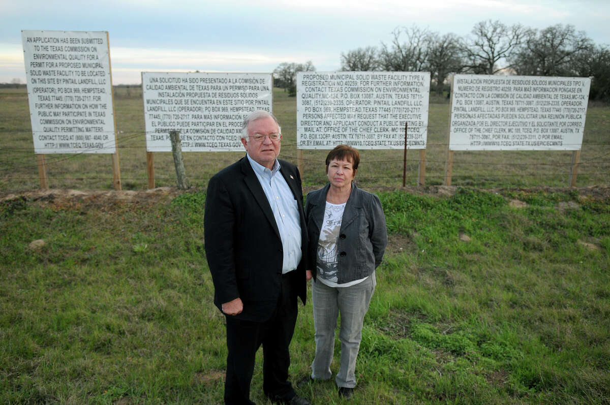 What prompted the lawsuit?  The Waller County Commissioners Court's 3-2 decision in February 2013 to reverse prior restrictions and agree to allow the landfill on part of 723 acres just off Highway 6. Mike McCall, left, and his wife, Karen, stand in front of the proposed Pintail landfill site.