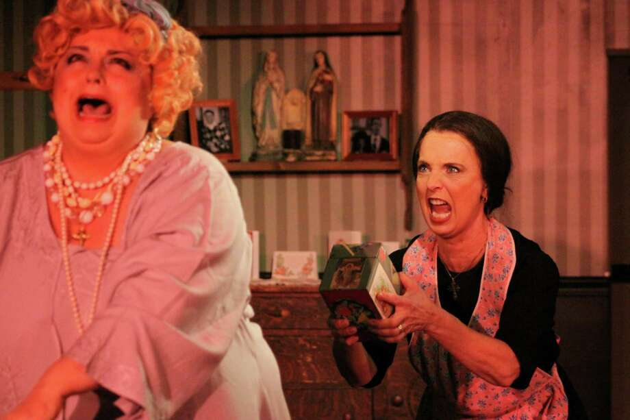 "Carole Claps (left) and Gail Yudan play feuding sisters-in-law in ""A Merry Mulberry Street Musical,"" playing at Stamford's Curtain Call Theatre through Dec. 14. Photo: Contributed Photo / Connecticut Post Contributed"