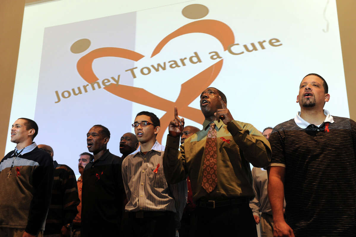 The Pivot Ministries Choir sings during The Greater Bridgeport HIV/AIDS Care Consortium, held on World AIDS Day, at the University of Bridgeport, in Bridgeport, Conn. Dec. 1, 2014.