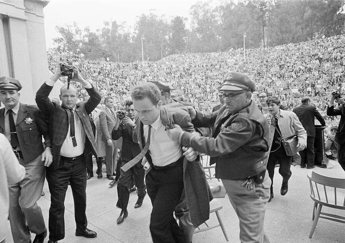 This week marks the 50th anniversary of the arrest of over 800 UC Berkeley students, including Free Speech Movement leader Mario Savio, who were protesting the campus ban on political advocacy. Over 1,000 students occupied the Sproul Hall administrative building until they were rounded up and arrested - the largest mass arrest in state history - in the wee small hours of Dec. 4, 1964.