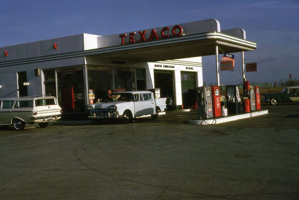 Johnelle and Edwin Moudry's Texaco gas station on Braesmain seen in this photo taken in 1964 by Edwin Moudry.