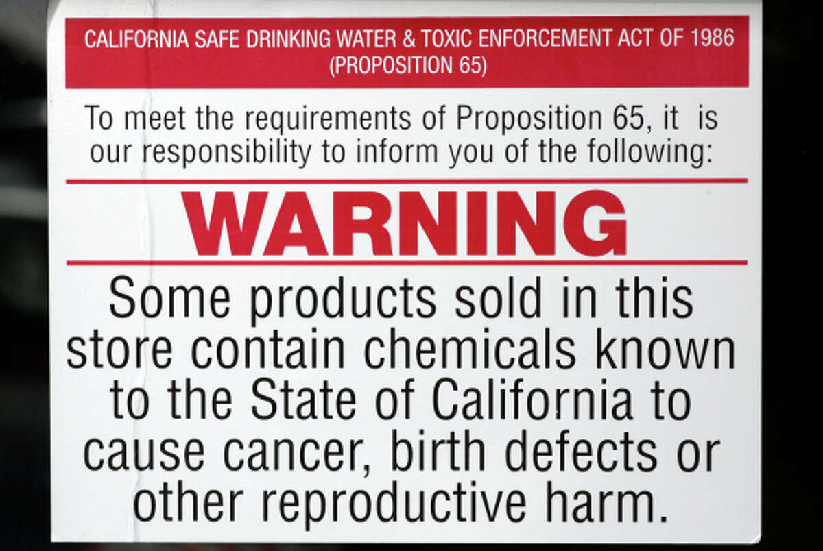 Prop 65 warning posted on the window of a Ventura auto parts store. There are signs required by law on the outside of the store. We re looking for the Prop 65 warning, wording can be somewhat different, but close to this: Products contain substances known to the state of California to cause cancer, birth defects or other reproductive harm. Story is about the effects of Prop 65 over the last 20 years, benefits and consequences.